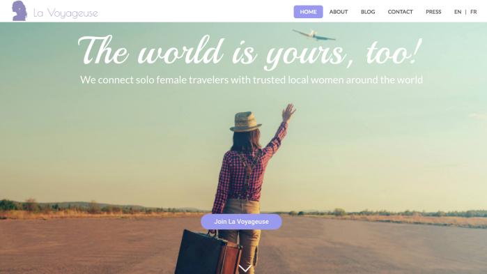 Homepage of La voyageuse